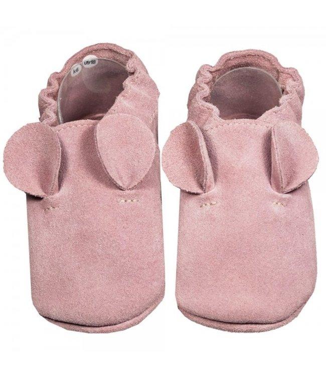 Babyslofjes suede roze met oortjes (Kruip)