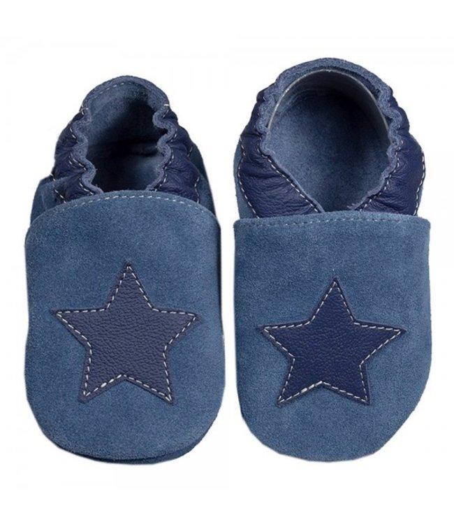 Babyslofjes blauw suede met ster (Kruip)