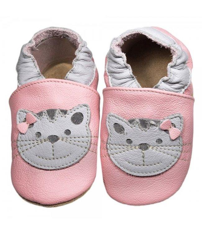 Babyslofjes roze met kat (Loop)