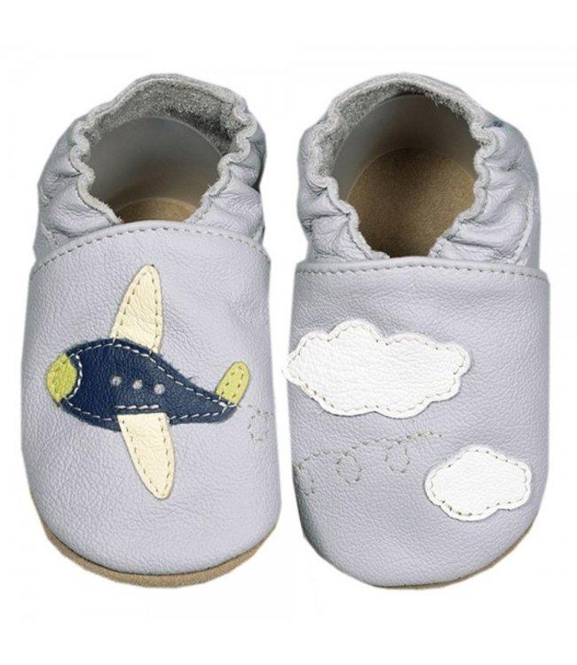 Babyslofjes grijs met vliegtuig (Kruip)