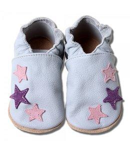 Babyslofjes grijs met 3 roze sterren (Kruip)