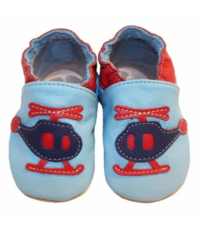 Babyslofjes blauw met helikopter (Loop)