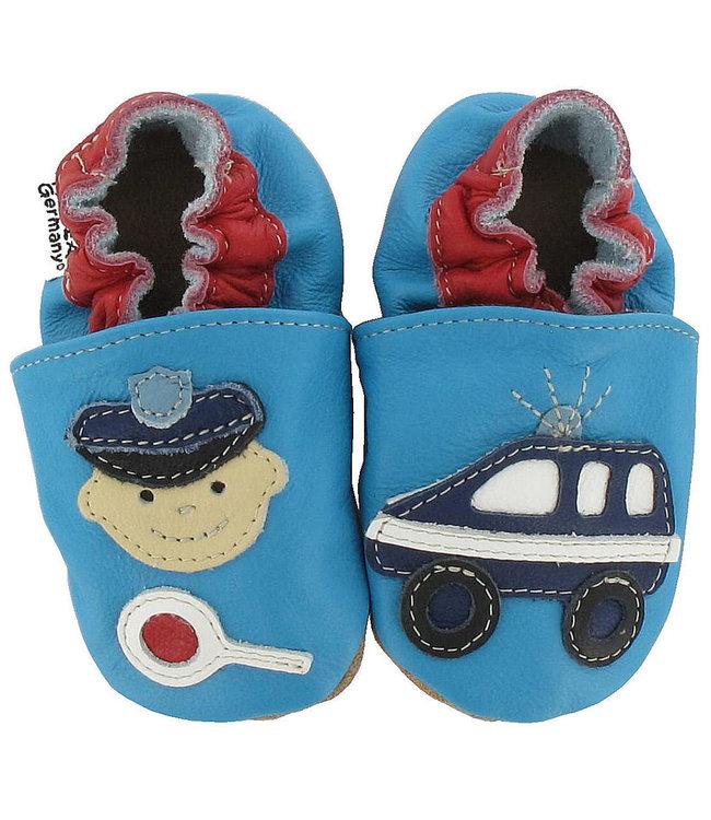 Babyslofjes blauw met politie (Kruip)