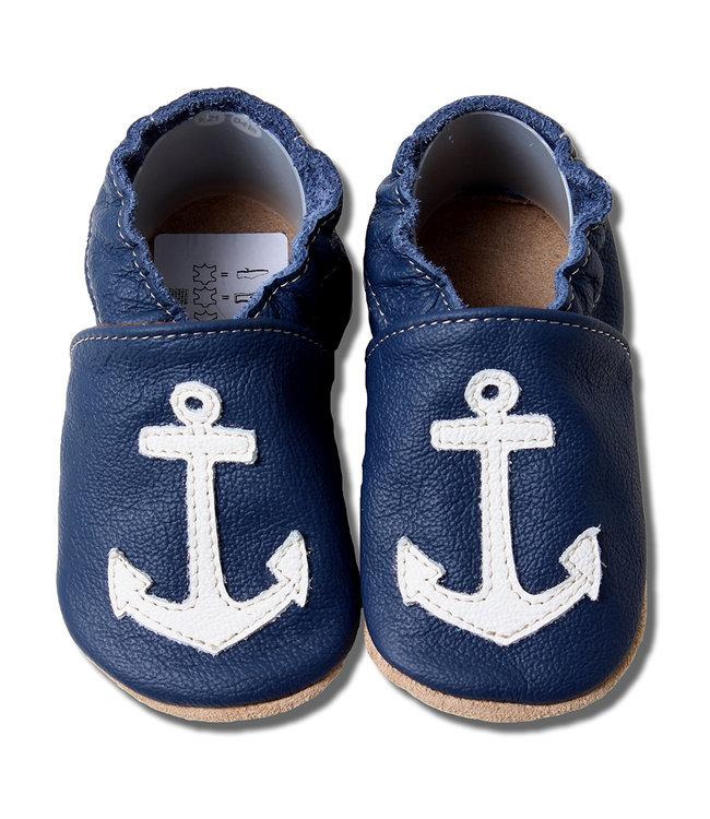 Babyslofjes blauw met wit anker (Loop)