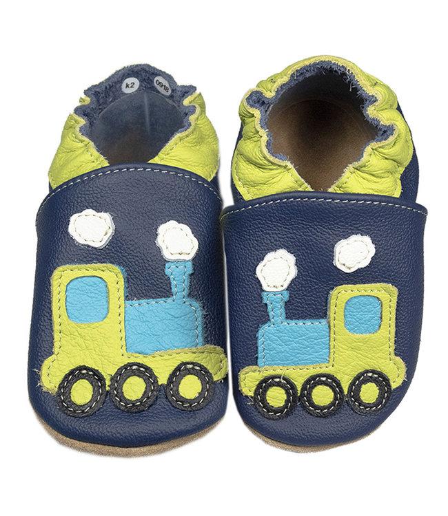 Babyslofjes blauw met trein (Kruip)