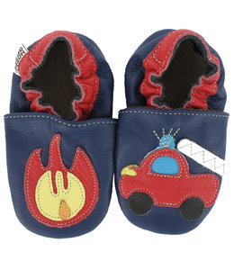 Babyslofjes blauw met brandweer (Kruip)