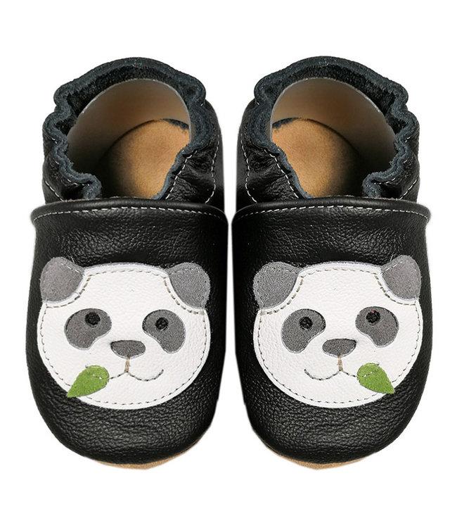 Babyslofjes zwart met panda (Kruip)