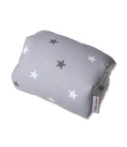 Mini voedingskussen grijs met 2 kleuren sterren