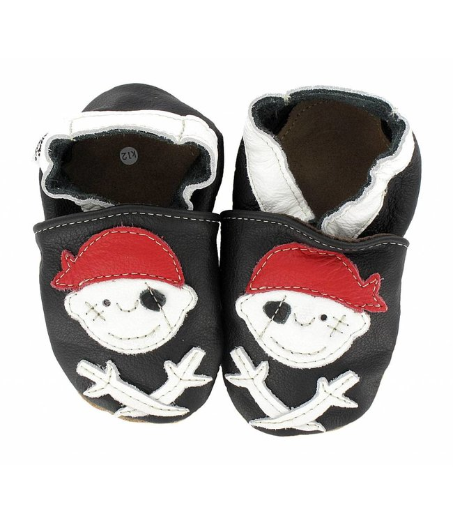 Hobea babyslofjes piraat zwart (Kruip)
