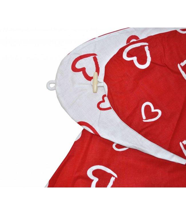 Hoes voor voedingskussen hartjes rood/wit