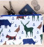 Milly Green flat purse tartan wildlife design