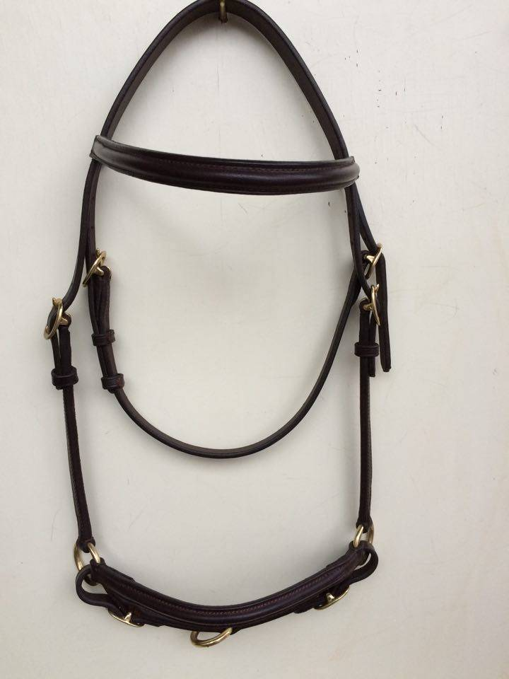 "Ponytrends Show bridle leather ""plain"", adult size with plaited browband"