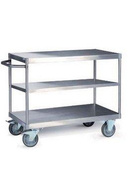 Tischwagen aus Edelstahl mit 3 Etagen