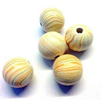 Cuenta DQ 24mm wooden bead round marble print cream-orange
