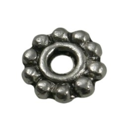 Cuenta DQ bali flower ring spacer 6mm silver platin