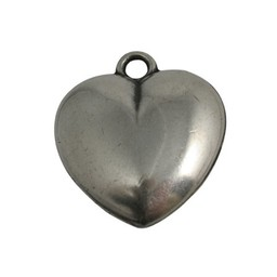 Cuenta DQ Heart smooth silver plating