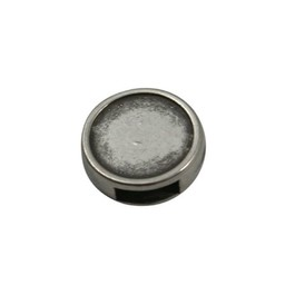 Cuenta DQ Leather slider round silver 6mm hole