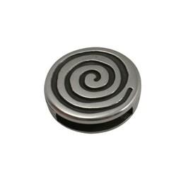 Cuenta DQ slider bead round spiral 13 mm