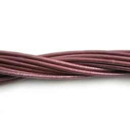 Cuenta DQ lederband 2mm fuchsia metallic 1 meter .