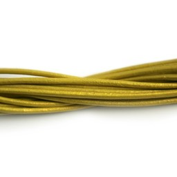 Cuenta DQ leather cord 2mm yellowl metallic 1 meter