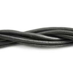 Cuenta DQ leather cord 3mm grey metallic 1 meter