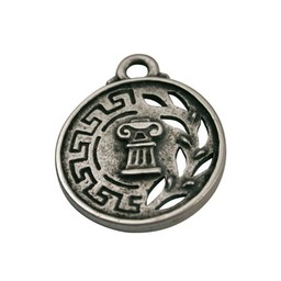 Cuenta DQ Greek silver coin pendant 33mm