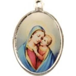 Cuenta DQ sieraden hanger medaillon met afbeelding ovaal 21mm verzilverd