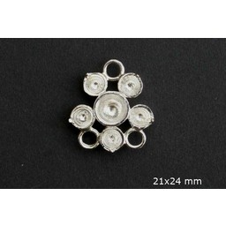 Cuenta DQ queen style 6-oses ring versilbert 21mm