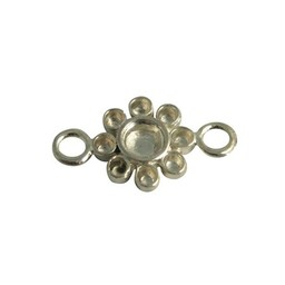 Cuenta DQ queen flower style silver plated 16mm