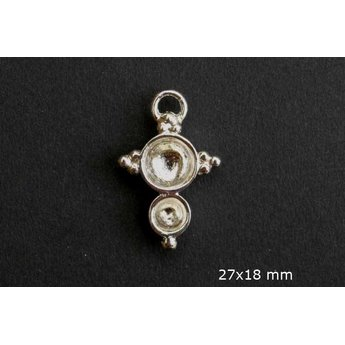 Cuenta DQ queen style cross plated 20mm