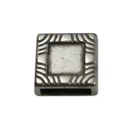Cuenta DQ Metaal leerschuiver Vierkant 10mm met inleg zilverkleur
