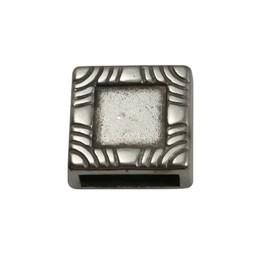 Cuenta DQ slider bead square  10mm silver plating