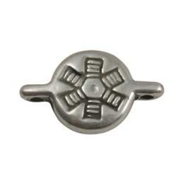 Cuenta DQ slider bead 10mm half round silver plating