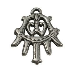 Cuenta DQ pendent ornament 49x38mm silver plating
