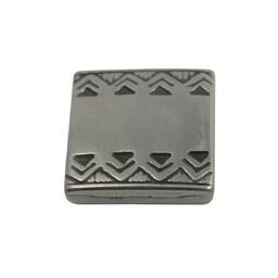 Cuenta DQ Metaal leerschuiver vierkant keltische rand 13mm zilverkleur