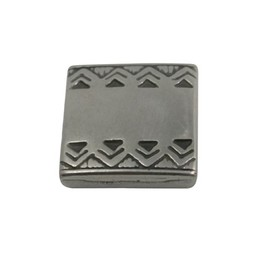 Cuenta DQ slider bead square  celtic edge 13mm silver plating