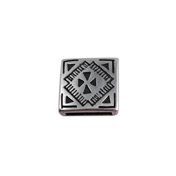 Cuenta DQ slider bead square  celtic 13mm silver plating