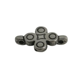Cuenta DQ conector flower  14x18mm silver plating