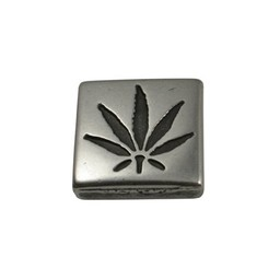 Cuenta DQ slider bead cannabis square  13mm silver plating
