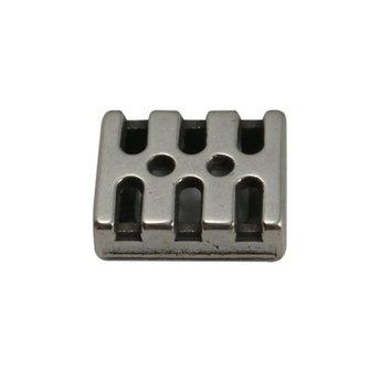 Cuenta DQ slider bead 10mm modern silver plating