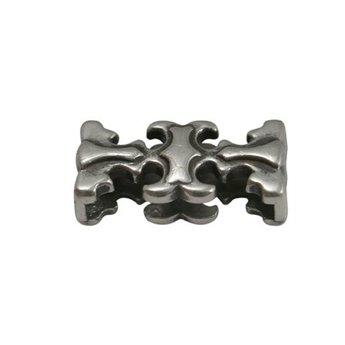 Cuenta DQ slider bead elegant 20x3mm silver plating