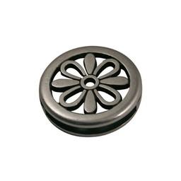 Cuenta DQ slider bead flower round 24X3mm silver plating