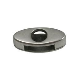 Cuenta DQ Metaal leerschuiver 10mm ovaal open zilverkleur