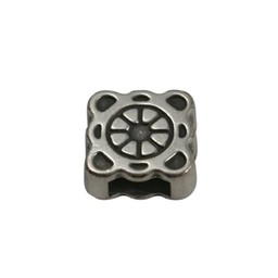 Cuenta DQ slider bead square  ornament 6mm