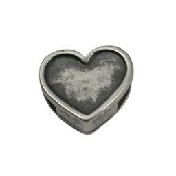 Cuenta DQ Metaal leerschuiver hart 6mm zilver
