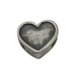 Cuenta DQ slider bead Heart  6mm silver plating
