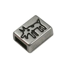 Cuenta DQ slider bead 6mm dog silver plating