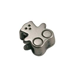Cuenta DQ slider bead bear 6mm silver plating