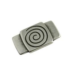 Cuenta DQ slider bead square  spiraal/ plaatje 30x16mm