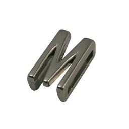 Cuenta DQ schiebe perle Metall alfabet 13mm Buchstaben: M